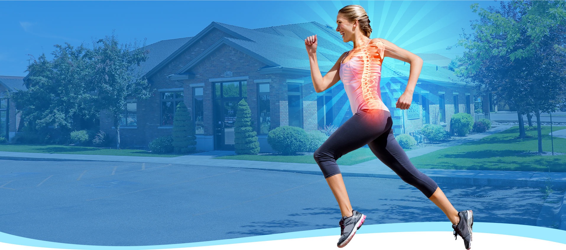 Heathly Woman running with an x-ray cross section showing her spine.